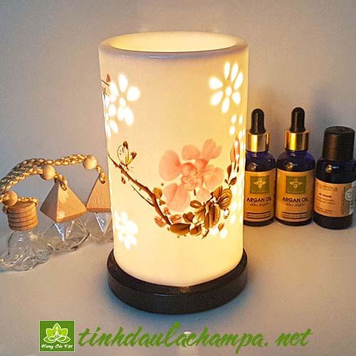 Đèn gốm hoa đào TN36