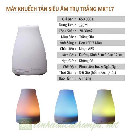 Thông số kỹ thuật máy khuếch tán tinh dầu Ngọc tuyết MKT17