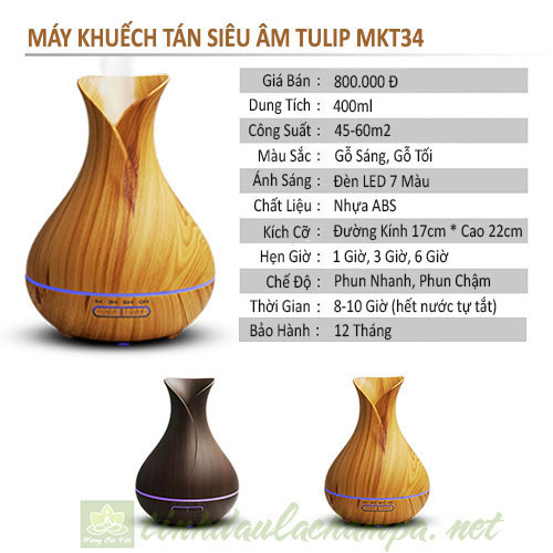 Thông số kỹ thuật máy khuếch tán 400ml bình hoa Tulip