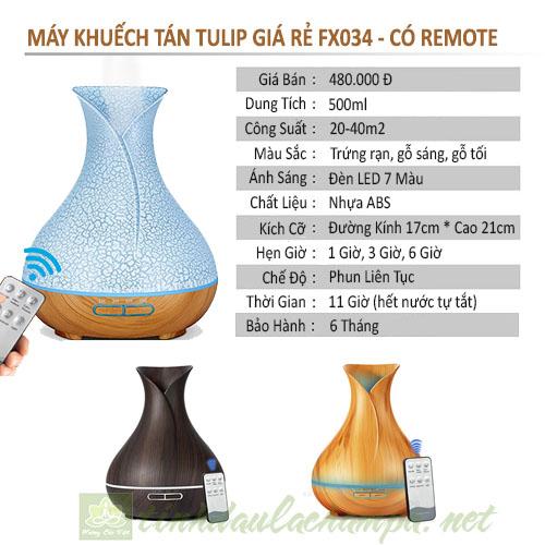 Máy Khuếch Tán Tinh Dầu Tulip Trứng Vân Rạn 500ml FX034-TW