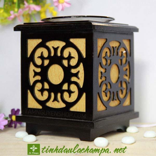 Đèn điện xông tinh dầu gỗ khung vuông hoa hướng dương TN19