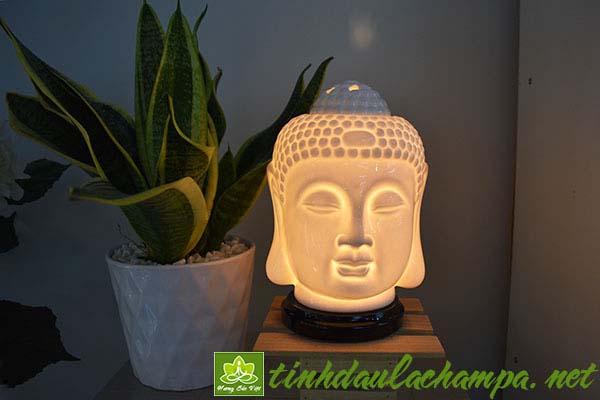 Đèn xông tinh dầu gốm tượng đầu phật - shop Hương Sắc Việt