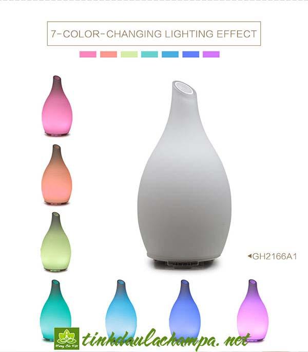 Máy khuếch tán tinh dầu pha lê trắng đổi màu Art-Glass Ellestfun MKT28